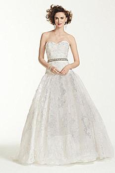 Oleg Cassini All Over Lace Beaded Wedding Dress CWG633