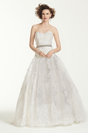 Strapless Ball Gown with All Over Lace Appliques CWG633