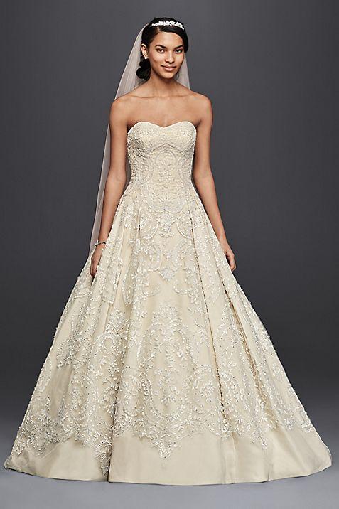 Oleg Cassini Beaded Lace Tulle Wedding Dress | David\'s Bridal