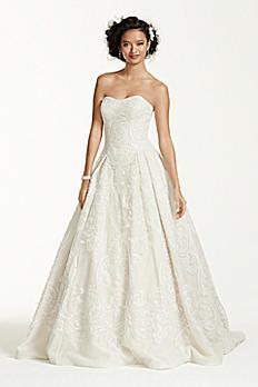 Oleg Cassini Petite Lace Tulle Wedding Dress 7CWG635