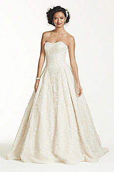 Oleg Cassini Beaded Lace Tulle Wedding Dress CWG635