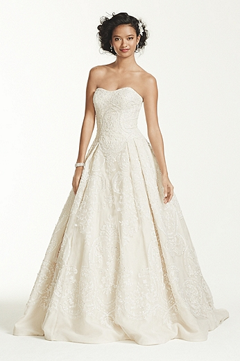 Oleg Cassini Organza Tulle Wedding Dress CWG635
