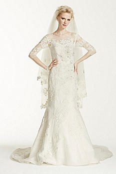 Oleg Cassini Illusion 3/4 Sleeve Wedding Dress CWG638