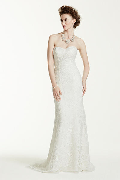 Oleg Cassini Lace Wedding Dress with Pearl Beads CWG641
