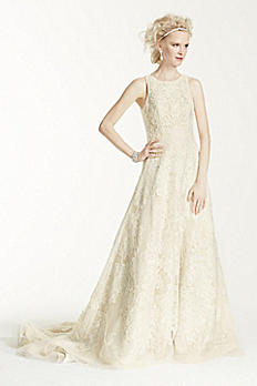 Oleg Cassini Tank Tulle Wedding Dress with Lace CWG653