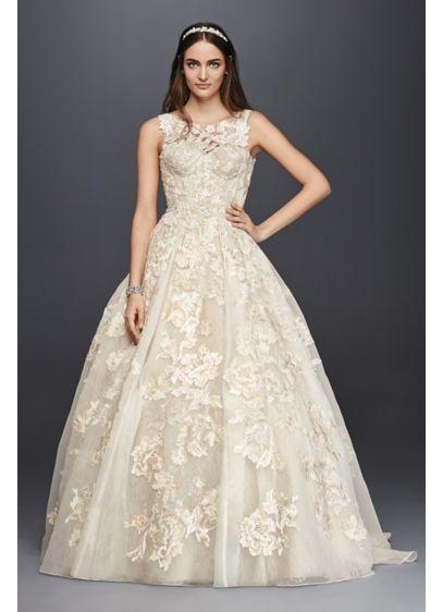 Oleg cassini high neck tank lace wedding dress davids bridal long ballgown formal wedding dress oleg cassini junglespirit Gallery