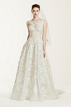 Oleg Cassini High Neck Tank Lace Wedding Dress CWG658