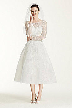 Oleg Cassini Tea Length Lace Tulle Wedding Dress CWG663