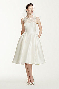 As-Is Oleg Cassini Mikado Tea Length Wedding Dress AI14040295