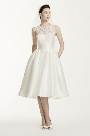 Oleg cassini mikado tea length wedding dress david 39 s bridal for Oleg cassini wedding dress tea length