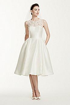 Oleg Cassini Mikado Tea Length Wedding Dress CWG664