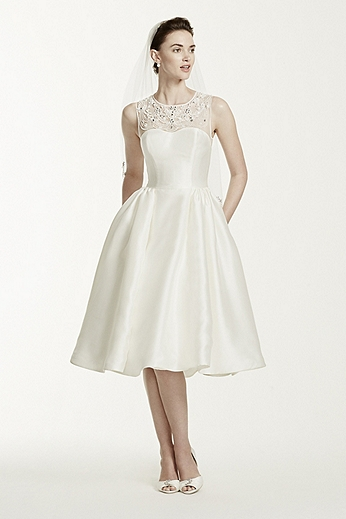Mikado Tea Length Dress with Illusion Neckline CWG664