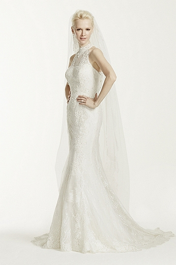 Lace Trumpet Gown with High Illusion Neckline CWG666