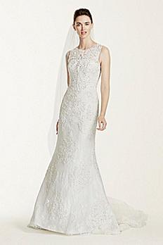 Oleg Cassini Tank Illusion Back Wedding Dress CWG667