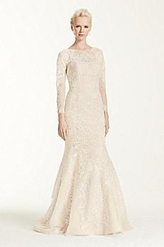 Oleg Cassini Open Back Long Sleeved Wedding Dress CWG670