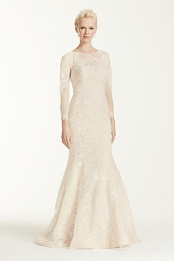 Long Sleeve Lace Trumpet Gown CWG670