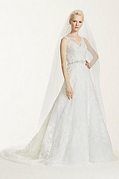 Oleg Cassini A-Line Lace Wedding Dress CWG672