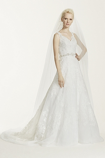 Strapless A Line Gown with Beaded Lace Appliques CWG672