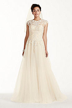 Oleg Cassini Cap Sleeve Tulle Wedding Dress CWG697