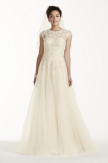 Cap Sleeve Tulle Ball Gown with Embellishments CWG697