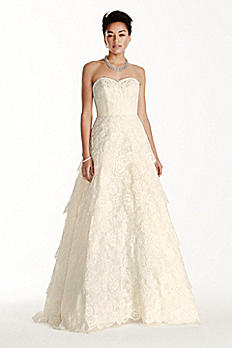 Strapless Sweetheart Beaded Lace A-line Dress CWG699