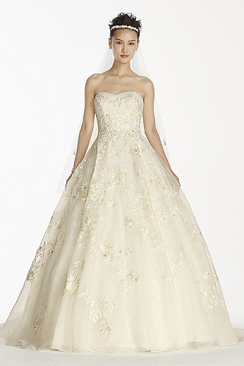 Strapless Organza Ball Gown with Beaded Embroidery CWG700