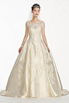 Oleg Cassini Illusion Cap Sleeve Wedding Dress CWG701
