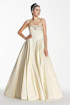 Oleg Cassini Satin Wedding Dress with Beading CWG702