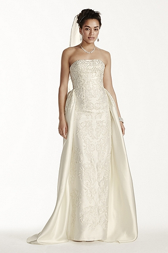 Oleg Cassini Silk Wedding Dress with Beaded Detail CWG703