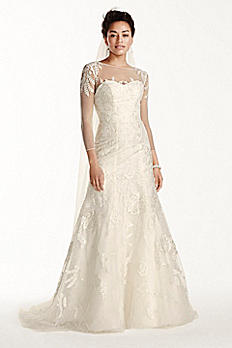 Petite Lace Wedding Dress with 3/4 Sleeves 7CWG704