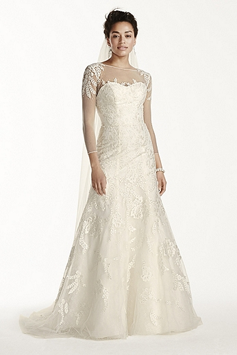 Beaded Lace A-Line Dress with 3/4 Sleeves CWG704