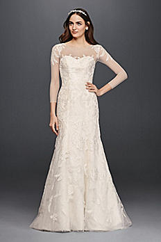 Oleg Cassini Lace Wedding Dress with 3/4 Sleeves CWG704