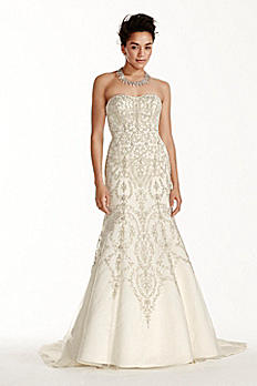 Oleg Cassini Tulle and Crystal Mermaid Wedding Dre CWG706