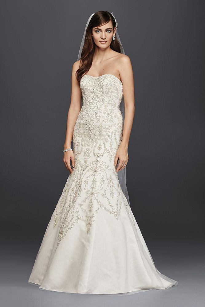Wedding Dress Oleg Cassini Tulle and Crystal Mermaid ...