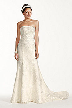 Oleg Cassini Tulle and Lace Trumpet Wedding Dress CWG707