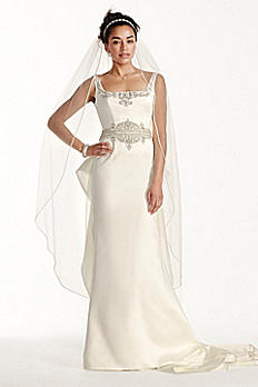 Oleg Cassini Satin Tank Mermaid Wedding Dress CWG708