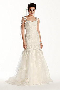 Oleg Cassini Tank Lace Mermaid Wedding Dress CWG709