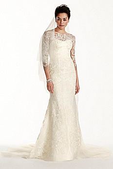 Oleg Cassini Tulle Wedding Dress with 3/4 Sleeves CWG710