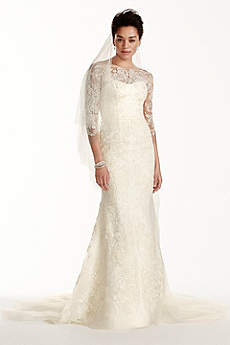 Long Sheath Beach Wedding Dress - Oleg Cassini