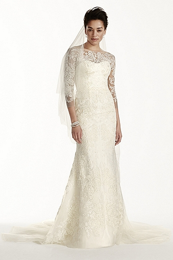 3/4 Sleeve Illusion Tulle Sheath with Beaded Lace CWG710