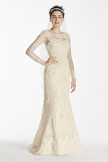 Long Sleeve Beaded Lace Sheath Dress CWG712