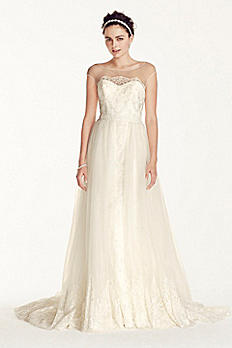 Oleg Cassini Cap Sleeve Tulle A-line Wedding Dress CWG713