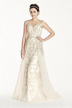 Oleg Cassini Beaded Lace with Tulle Wedding Dress CWG714