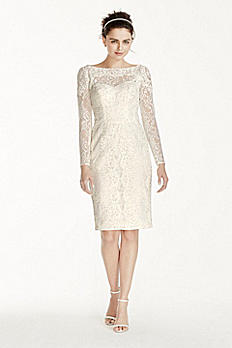 Short Lace Sheath with Long Sleeves CWG715