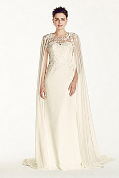 Oleg Cassini Crepe Wedding Dress with Chiffon Cape CWG716