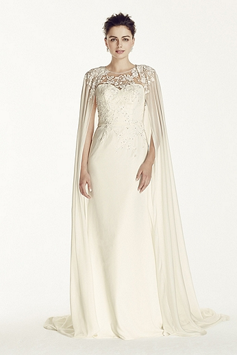 Crepe Sheath with Chiffon Cape CWG716