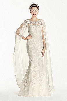 Oleg Cassini Scalloped Chiffon Cape Wedding Dress CWG717