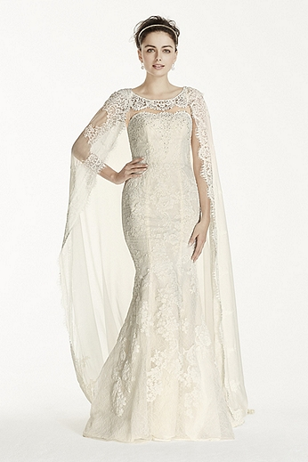Allover Lace Sheath with Chiffon Cape CWG717