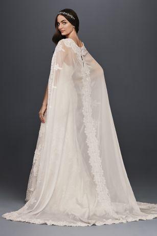 Oleg Cassini Scalloped Chiffon Cape Wedding Dress David