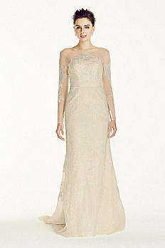 Oleg Cassini Illusion Sleeved Lace Wedding Dress CWG718